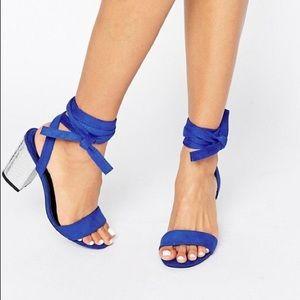 Tie Ankle Block Heel Sandal